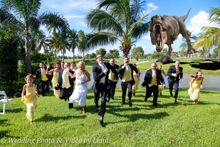 A T-rex was spotted crashing a wedding at Galuppi's in Pompano Beach