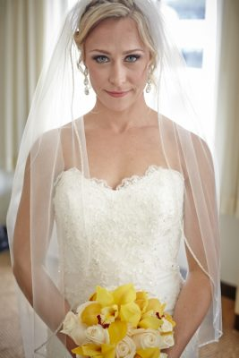 One of our brides, Lisa, right before she walked down the aisle